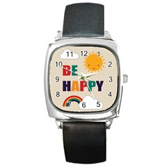 Be Happy Square Leather Watch