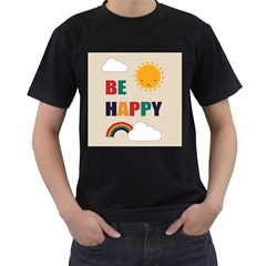 Be Happy Men s Two Sided T-shirt (Black)