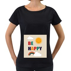 Be Happy Women s Loose Fit T Shirt (black)