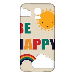 Be Happy Samsung Galaxy S5 Back Case (White)