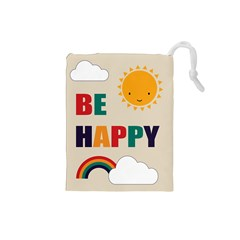 Be Happy Drawstring Pouch (Small)