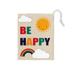 Be Happy Drawstring Pouch (Medium)