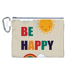 Be Happy Canvas Cosmetic Bag (Large)