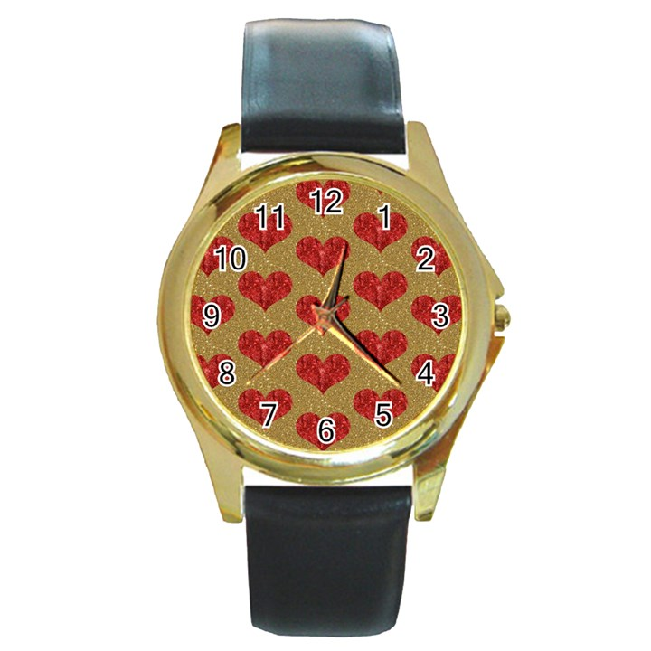 Sparkle Heart  Round Leather Watch (Gold Rim)