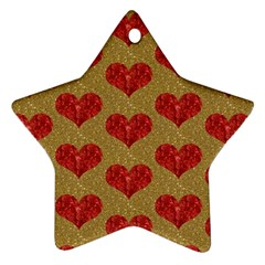 Sparkle Heart  Star Ornament (two Sides)