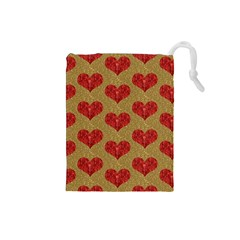 Sparkle Heart  Drawstring Pouch (Small)