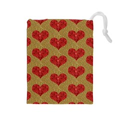 Sparkle Heart  Drawstring Pouch (large)