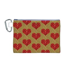 Sparkle Heart  Canvas Cosmetic Bag (Medium)