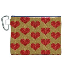 Sparkle Heart  Canvas Cosmetic Bag (XL)