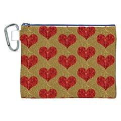 Sparkle Heart  Canvas Cosmetic Bag (XXL)