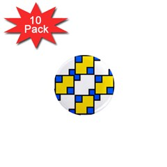 Yellow And Blue Squares Pattern 1  Mini Magnet (10 Pack)