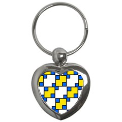 Yellow And Blue Squares Pattern Key Chain (heart)