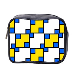 Yellow And Blue Squares Pattern Mini Toiletries Bag (two Sides)
