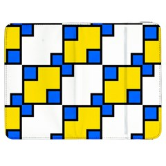 Yellow And Blue Squares Pattern Samsung Galaxy Tab 7  P1000 Flip Case