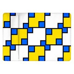 Yellow and blue squares pattern Samsung Galaxy Tab 10.1  P7500 Flip Case