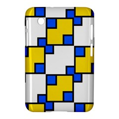 Yellow And Blue Squares Pattern Samsung Galaxy Tab 2 (7 ) P3100 Hardshell Case