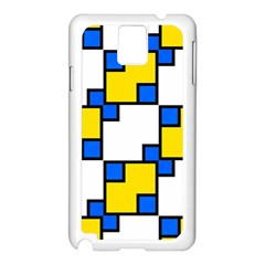 Yellow And Blue Squares Pattern Samsung Galaxy Note 3 N9005 Case (white)