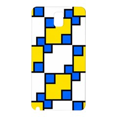 Yellow And Blue Squares Pattern Samsung Galaxy Note 3 N9005 Hardshell Back Case