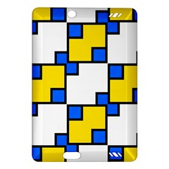 Yellow And Blue Squares Pattern Kindle Fire Hd (2013) Hardshell Case