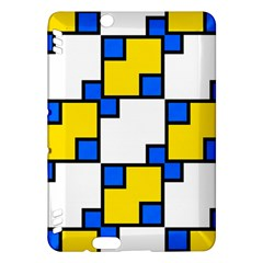 Yellow And Blue Squares Pattern Kindle Fire Hdx Hardshell Case