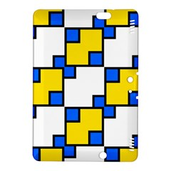 Yellow And Blue Squares Pattern Kindle Fire Hdx 8 9  Hardshell Case