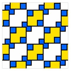 Yellow and blue squares pattern  Satin Scarf
