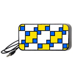 Yellow and blue squares pattern  Portable Speaker
