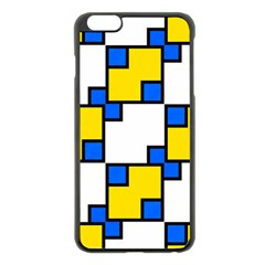 Yellow and blue squares pattern  Apple iPhone 6 Plus Black Enamel Case