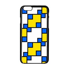 Yellow and blue squares pattern  Apple iPhone 6 Black Enamel Case