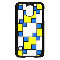 Yellow And Blue Squares Pattern 	samsung Galaxy S5 Case