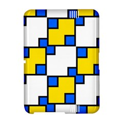 Yellow and blue squares pattern Kindle Fire HD Hardshell Case