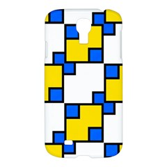 Yellow And Blue Squares Pattern 	samsung Galaxy S4 I9500/i9505 Hardshell Case $10
