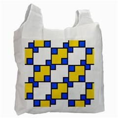 Yellow And Blue Squares Pattern  Recycle Bag