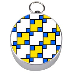 Yellow And Blue Squares Pattern  Silver Compass