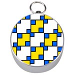 Yellow and blue squares pattern  Silver Compass Front
