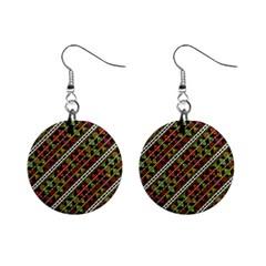 Colorful Tribal Print Mini Button Earrings