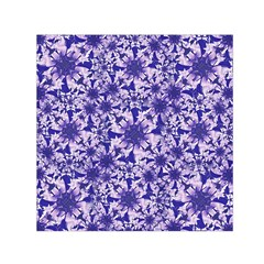 Decorative Floral Print Small Satin Scarf (Square)