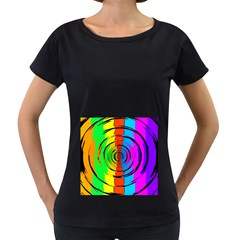 Rainbow Test Pattern Women s Loose-Fit T-Shirt (Black)