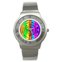 Rainbow Test Pattern Stainless Steel Watch (slim)