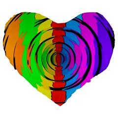 Rainbow Test Pattern Large 19  Premium Flano Heart Shape Cushion