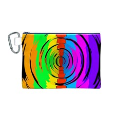 Rainbow Test Pattern Canvas Cosmetic Bag (Medium)