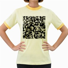 Background Noise In Black & White Women s Ringer T-shirt (Colored)