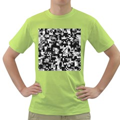 Background Noise In Black & White Men s T-shirt (Green)