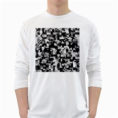 Background Noise In Black & White Men s Long Sleeve T-shirt (White)