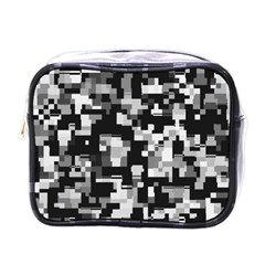 Background Noise In Black & White Mini Travel Toiletry Bag (one Side)