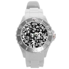 Background Noise In Black & White Plastic Sport Watch (large)