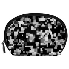 Background Noise In Black & White Accessory Pouch (Large)