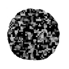 Background Noise In Black & White Standard 15  Premium Flano Round Cushion
