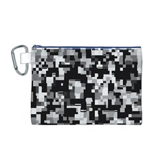 Background Noise In Black & White Canvas Cosmetic Bag (Medium)
