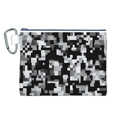 Background Noise In Black & White Canvas Cosmetic Bag (Large)